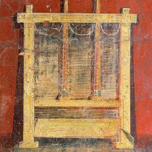 Pressa a vite per i panni. Affresco in una fullonica di Pompei, oggi conservata al Museo Archeologico Nazionale di Napoli