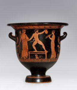 Cratere a campana apulo a figure rosse Pittore di Sisifo, 420-410 a.C. Danza satiresca Collezione Intesa Sanpaolo