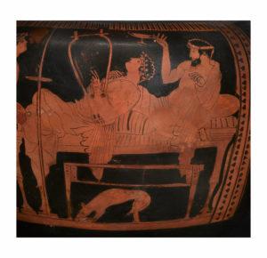 Cratere a colonnette attico a figure rosse Pittore di Leningrado, 470-460 a.C. Particolare con simposiasti che giocano al cottabo Collezione Intesa Sanpaolo