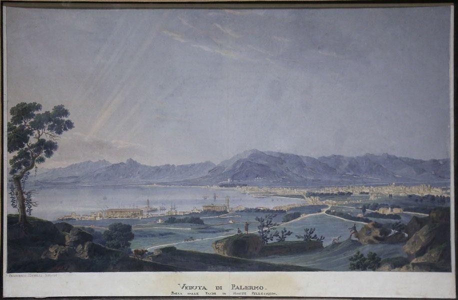 Veduta di Palermo dalle falde di Monte Pellegrino, 1830 ca., Tempera su carta